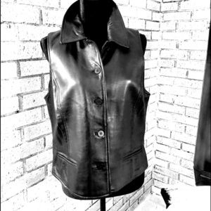 Ann Taylor Vintage Genuine Black Leather Vest